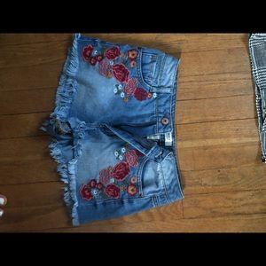 denim embroidered shorts